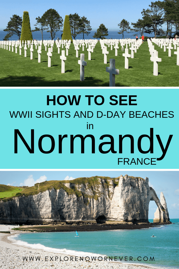 text overlay on photo of Normandy beach and American Cemetery