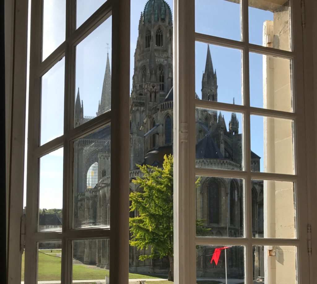 Bayeux cathedral through the window