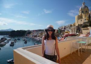 Photo of Sarah Trevor in Procida, Italy.