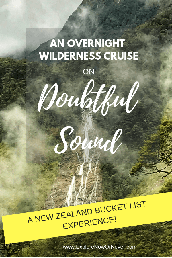 This is detailed review of our overnight wilderness cruise with Real Journeys on Doubtful Sound! Think pristine wilderness, kayaking and swimming in a fjord. Click here for the whole scoop! #newzealandtravel #newzealandbucketlists #newzealandtraveltips #newzealanditinerary #bucketlisttravel #newzealandtravelbeautifulplaces
