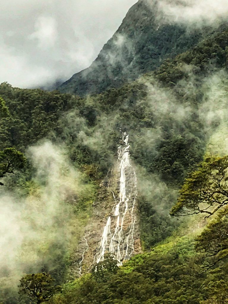 Rushing waterfall on a misty mountain in Doubtful Sound