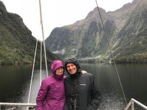 Steve and I bundled into our rain jackets on the boat on the Fiordland navigator
