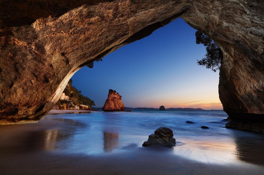 Sunset beach shot of a natural arach
