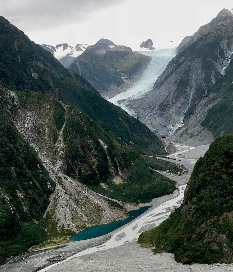 Aerial view of Fox Glacier