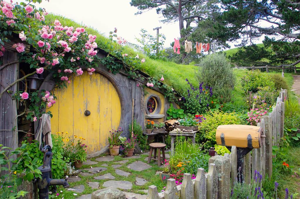 Yellow Hobbiton house