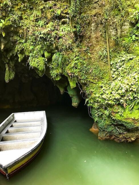 canoe outside the Waitomo Glowworm Caves