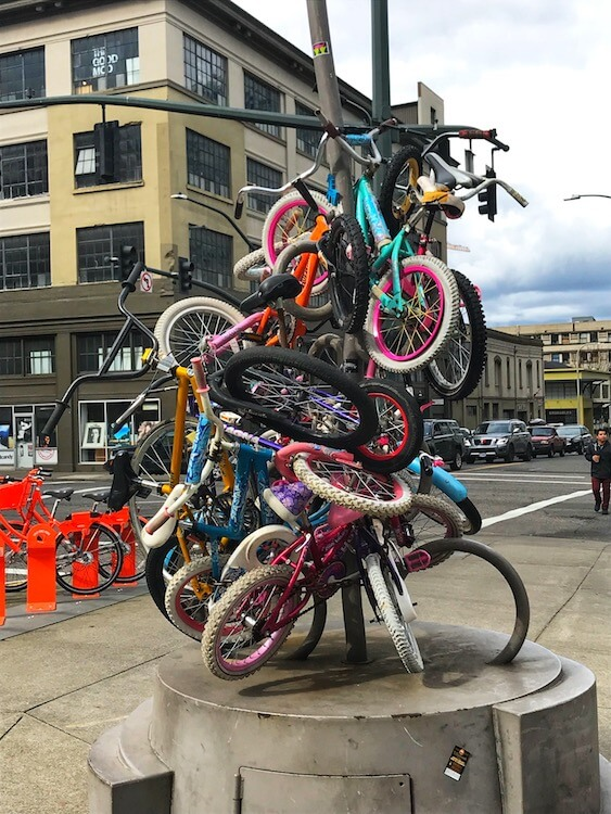 a colorful bike sculpture
