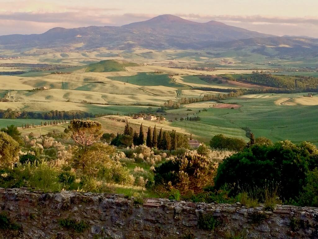 sun setting on the Tuscan country side
