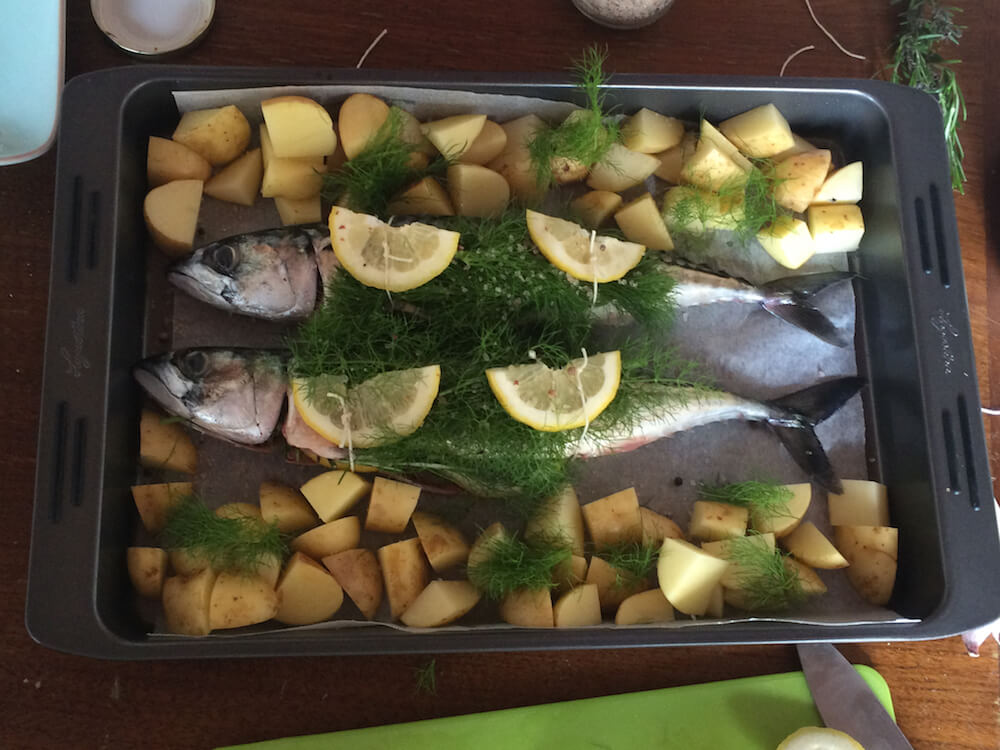 fish trussed with dill and lemon