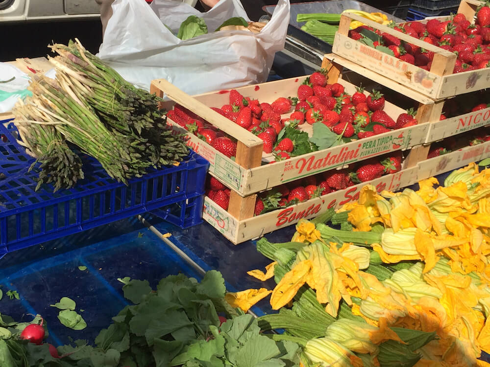 asparagus, strawberries and squash at the market
