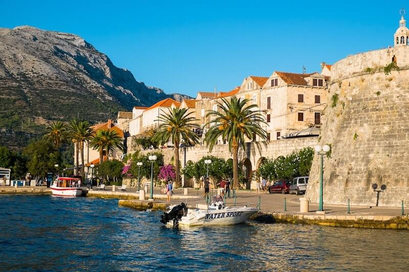waterfront in Korcula, Croatia
