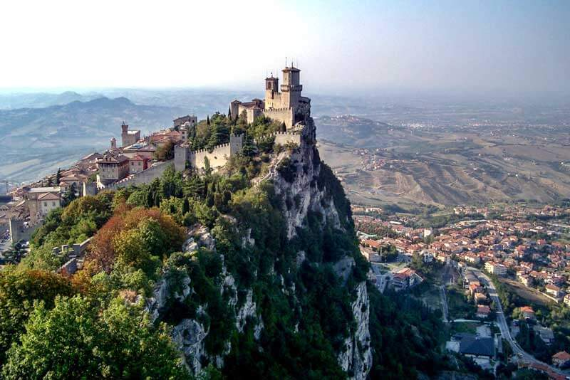 San Marino high on a cliff