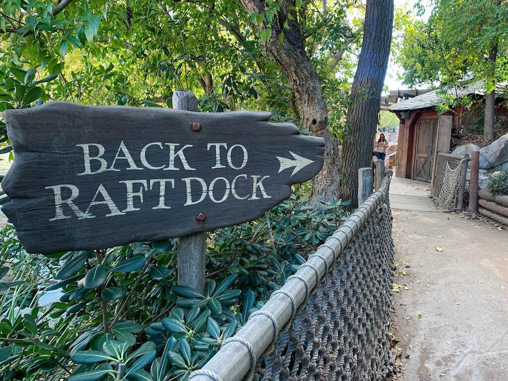 Back to Raft attraction door sign at Disneyland