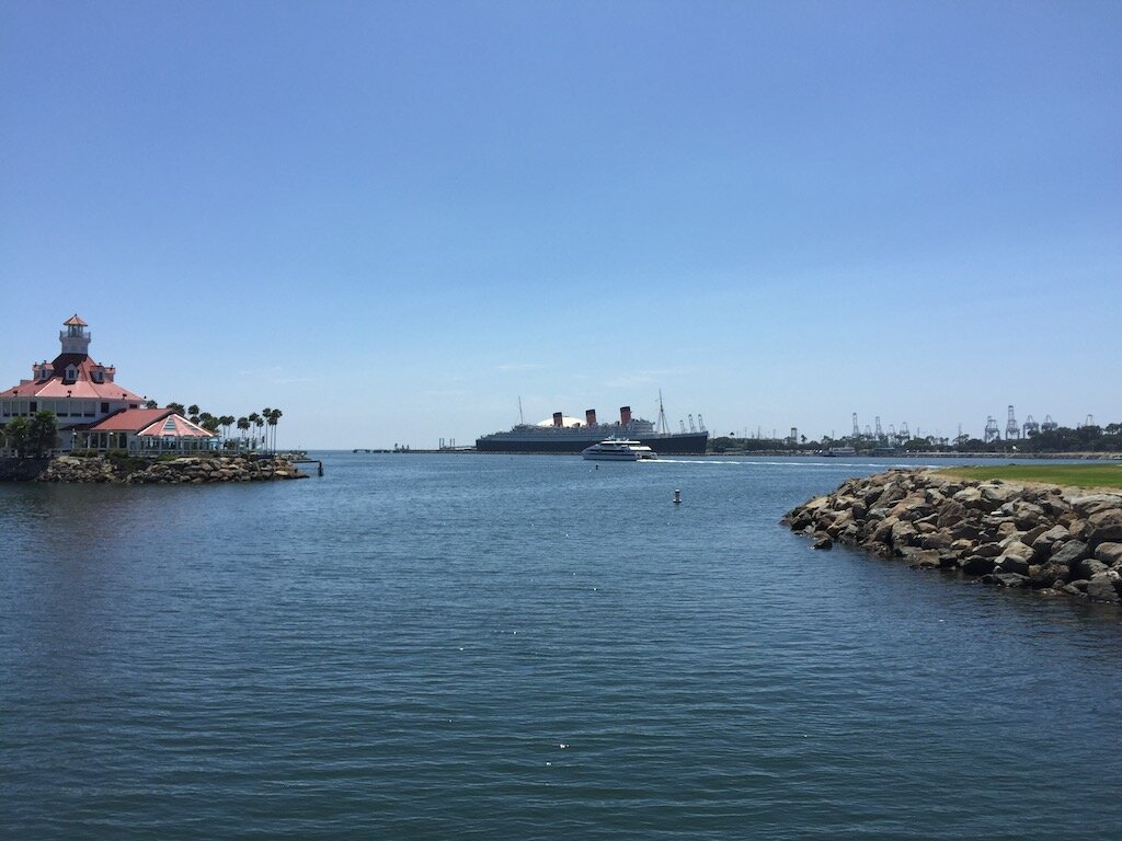 Harbor view of Queen Mary, a historic ship