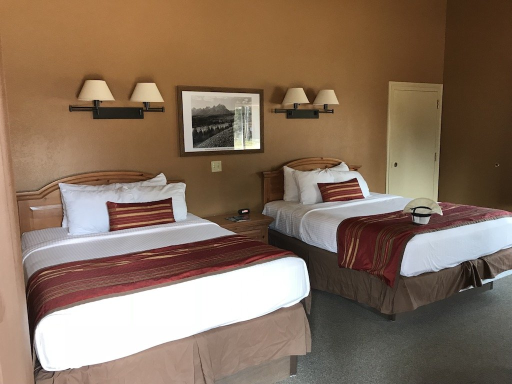 two beds inside of Headwaters lodge