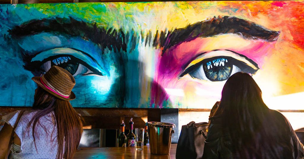 Casa Frida winery mural of eyes
