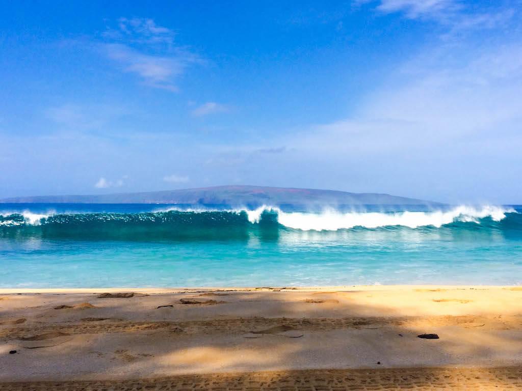 ocean waves in Maui at Big Beach