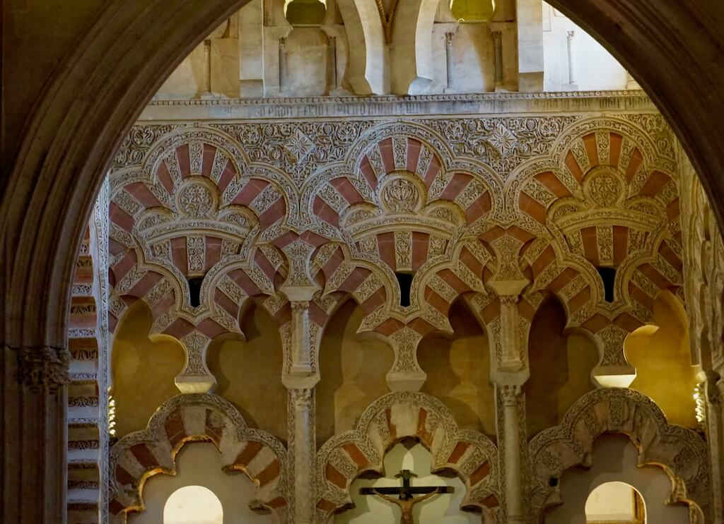 Moorish tile and carved wood inside Mezquita