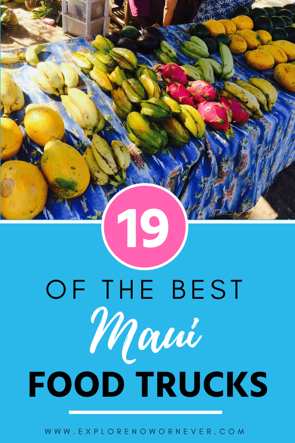 This is your complete guide to the mouth-watering Maui food truck scene + map! From fruity smoothies and wood-fired pizza to Thai and Filipino specialties, I've got you covered. (Saving on food means more for sunset Mai Tais, amirite?) It's even organized by food trucks near Kihei, Lahaina, Road to Hana and the airport! #Mauitravel #mauitravelguide #Mauitraveltips #mauitravelblog #Mauifoodtrucks #Mauifoodguide #wheretoeatinMaui #hawaiitravel