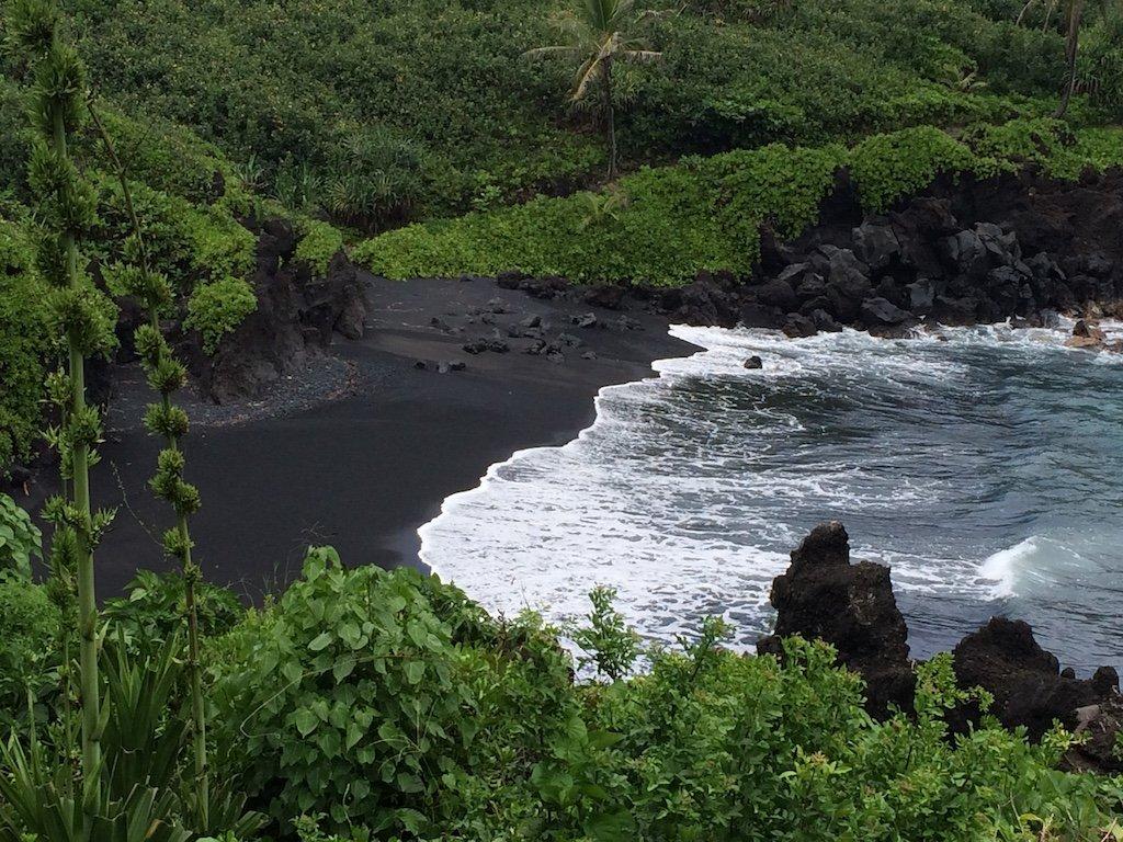 black sand beach on Road to Hana