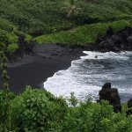 black sand beach on Road to Hana