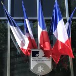 French flag on building in Paris