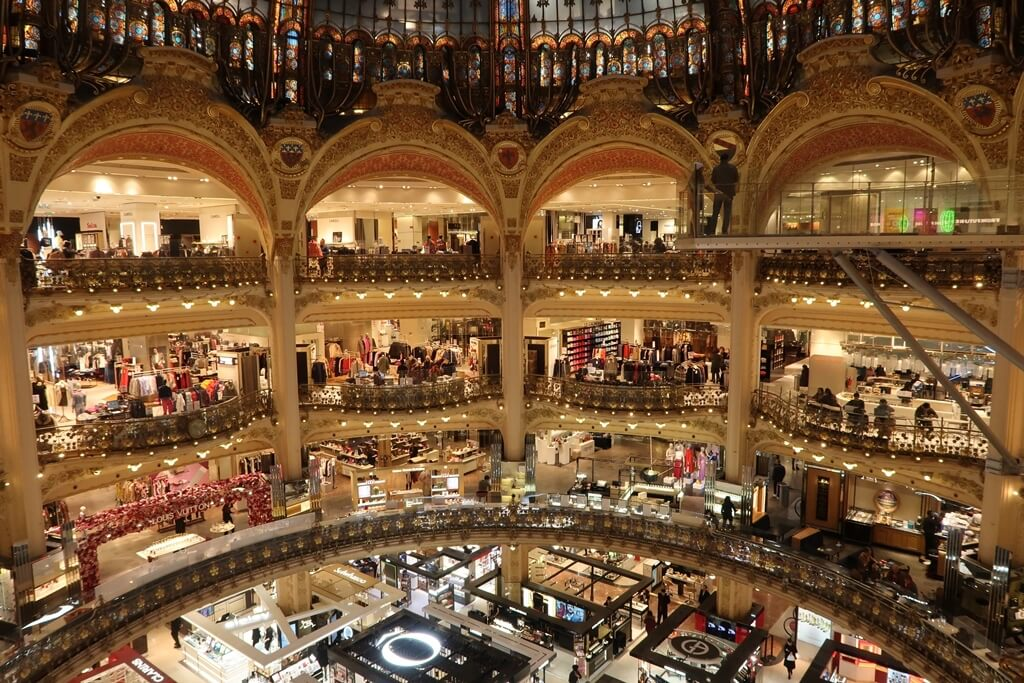 Inside of Galerie Lafayette, department store in paris