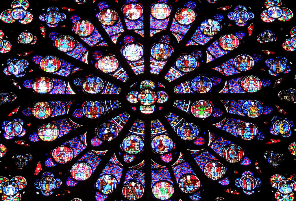 Close-up of stained glass notre Dame Cathedral in Paris