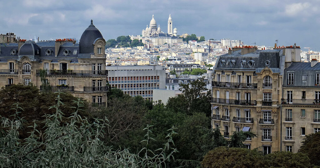 View of Sacre Coeur from Park des Buttes-Chaumont