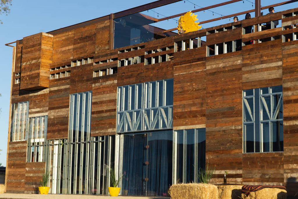 wood and steel winery in Valle de Guadalupe