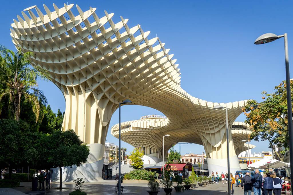 Giant modern wood sculpture