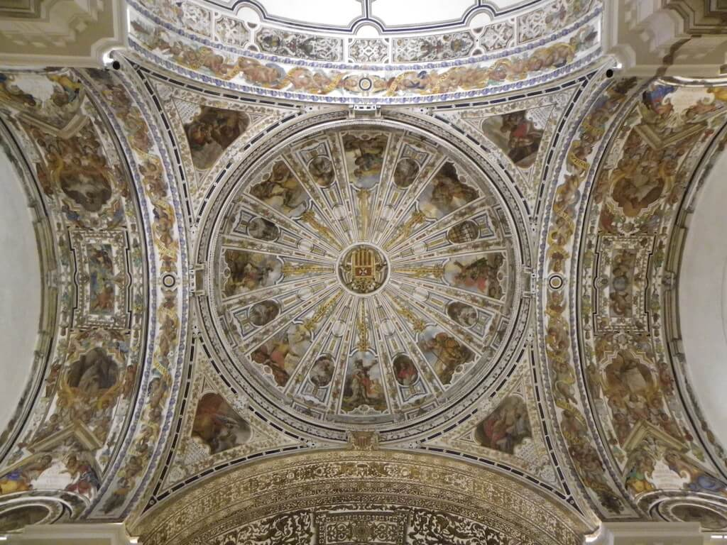 intricate geometric ceiling design of the museum