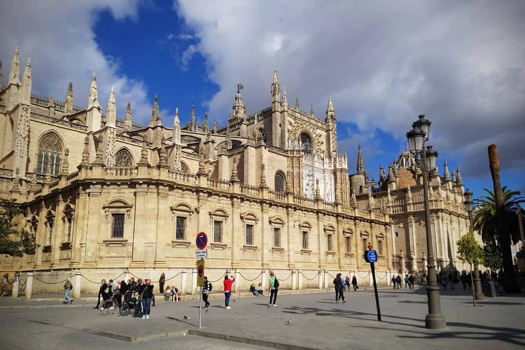 Streetside view of Seville Cathedral