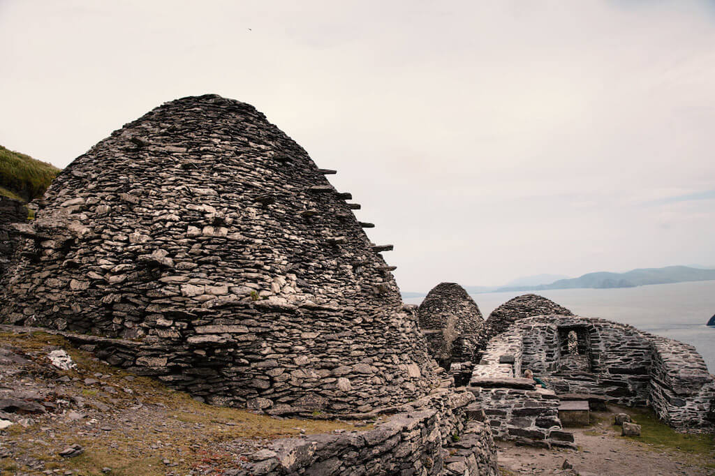 "stone ""beehive"" huts on the coast of Ireland"