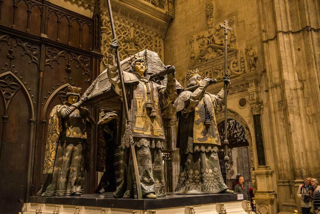 ornate statues on Christopher Columbus tomb