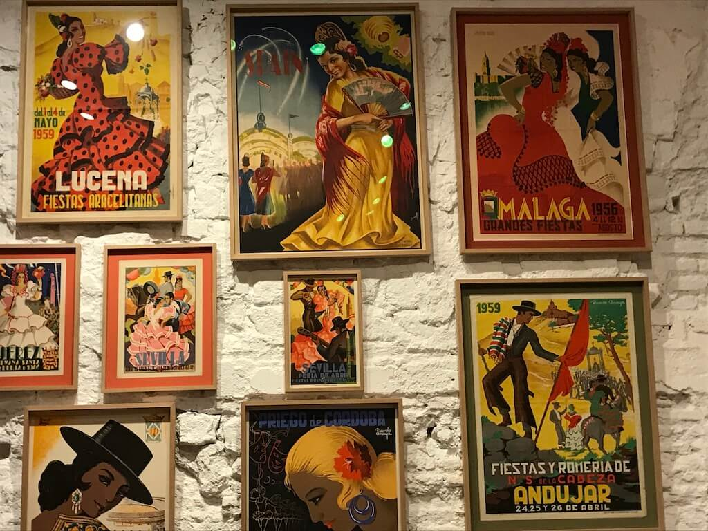 historic portraits of flamenco dancers in the museum