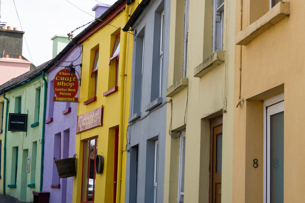 colorful pastel facades in a rural Irish town