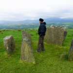 Man standing inside a prehistoric stone circle high on a hill