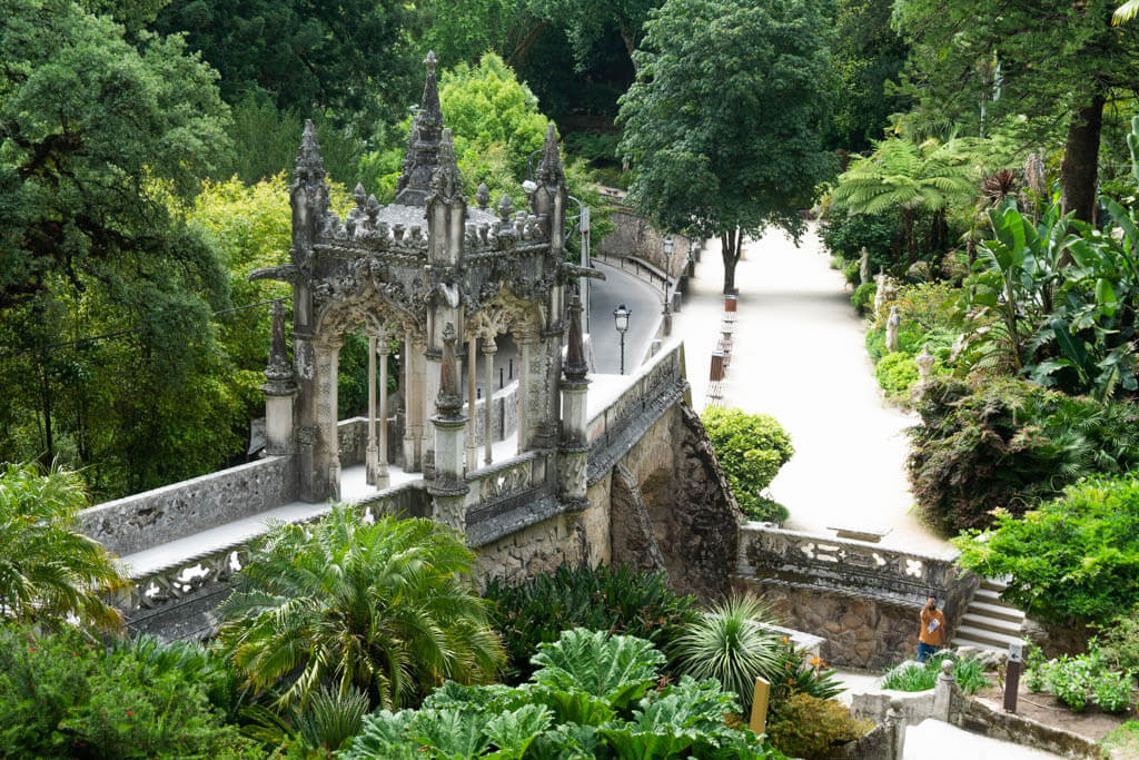 bridge and ornate facade at Quinta da Regaleira