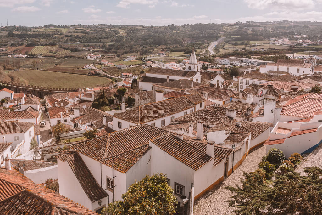 View down onto village of white homes with red clay roofds