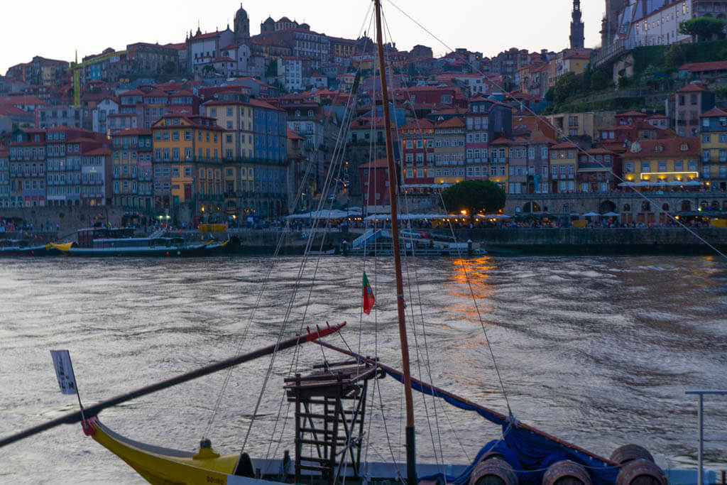 boat at sunset on the River Douro in Porto