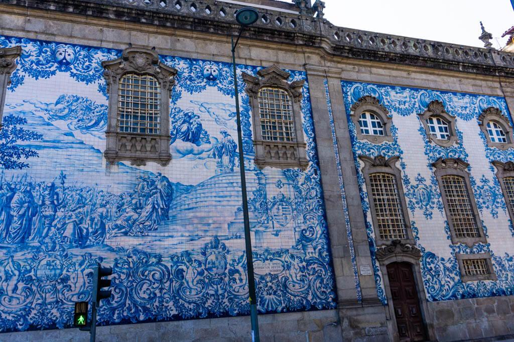blue and white tile facade on Carmo Church