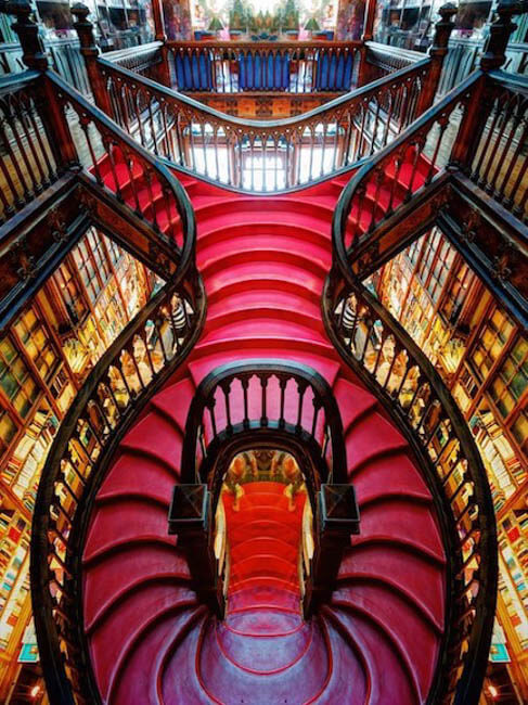 Lello Bookstore's red curved staircase