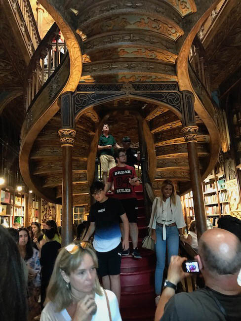 wall to wall crowds squeezed into Lello Bookstore