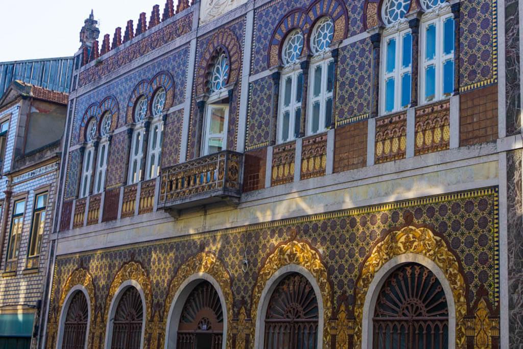 Moorish tile building facade in Porto