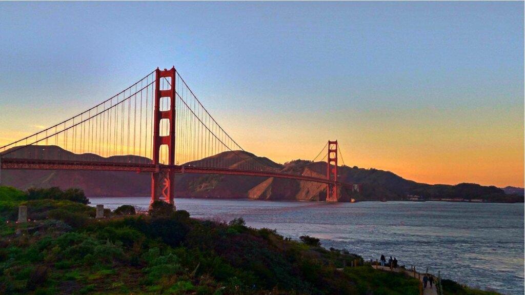sunset over the Golden Gate bridge in San Francisco