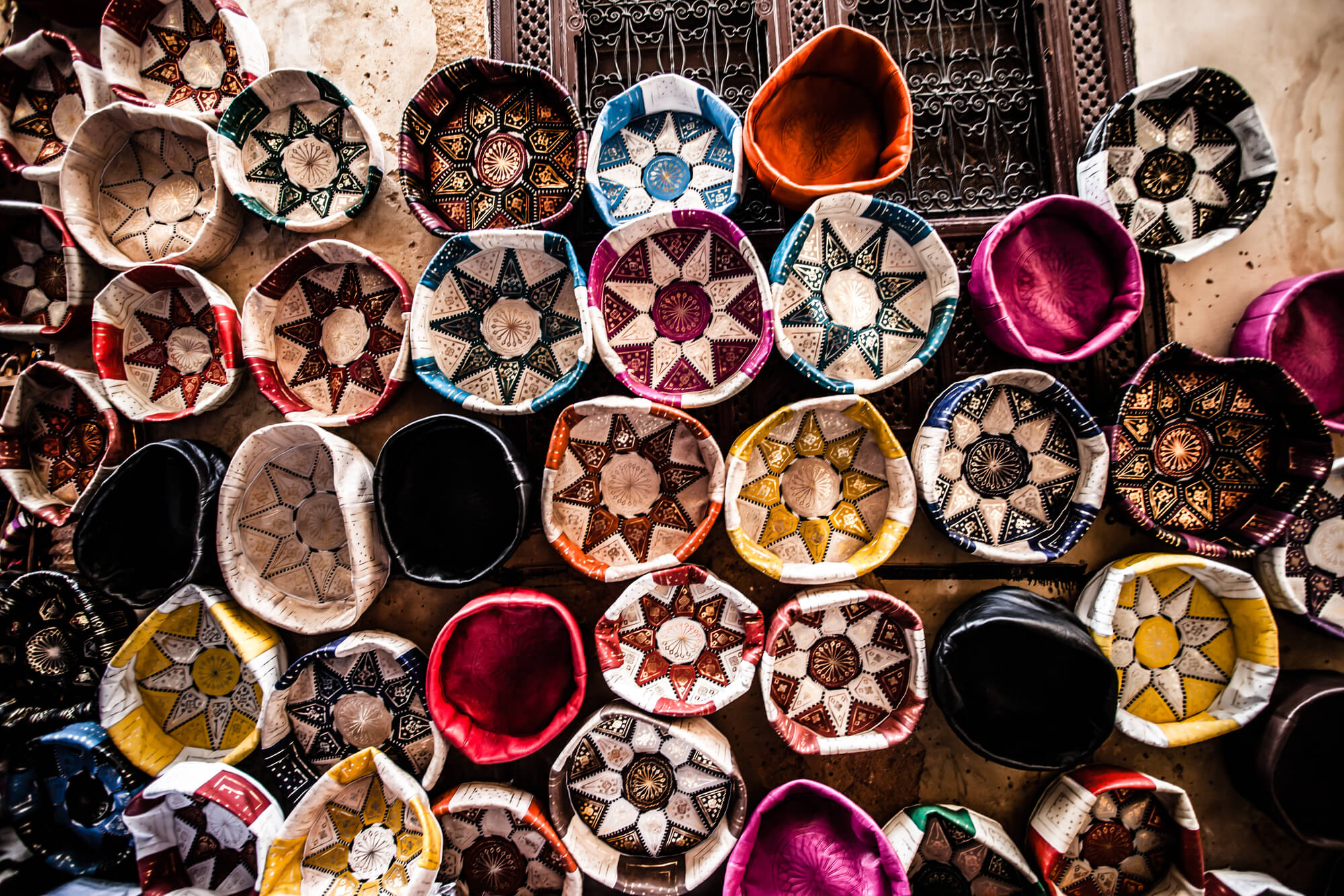 colorful Morrocan round basket purses