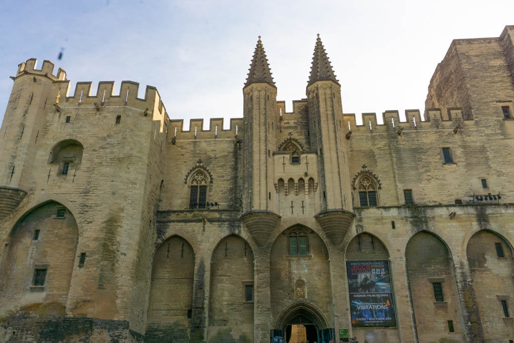 front of a castle in Avignon, Cahteau des Papes