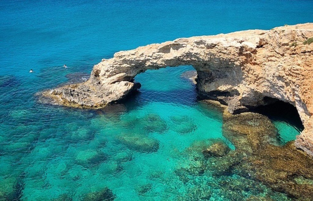 Cyprus ocean and rock formations during winter in Europe