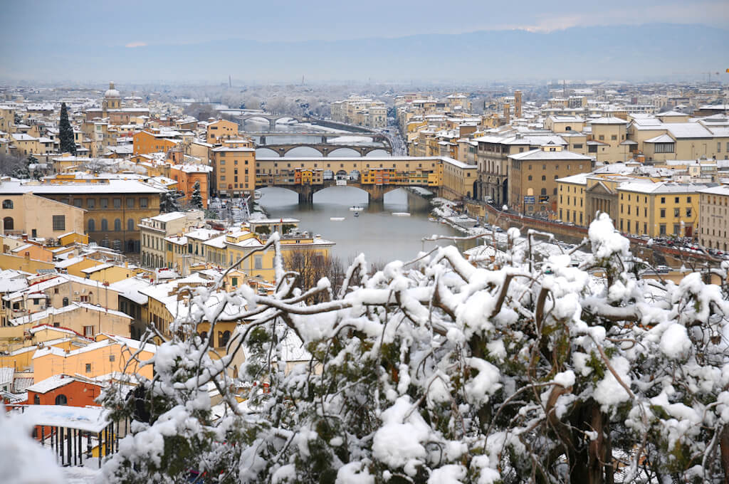 Cityscape of Florence in winter under snow